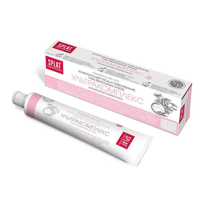 Splat Professional Зубная паста Ultracomplex / Ультракомплекс, 40 млКУ-174Комплексный уход и отбеливание чувствительных зубов. Мультиактивная зубная паста бережно заботится о белизне чувствительных зубов и здоровье десен, прекрасно освежает дыхание. Содержащийся в зубной пасте гидроксиапатит способствует укреплению эмали. Органический Кальцис, полученный из яичной скорлупы, в сочетании с гидроксиапатитом эффективно укрепляет зубную эмаль, устраняя причину повышенной чувствительности зубов. Сочетание натуральных ферментов из папайи с компонентом Polydon расщепляет налет, способствуя качественной очистке и долгой свежести дыхания. Ионы цинка оказывают вяжущее и противовоспалительное действие на десны. Инновационная система Sp.White system безопасно отбеливает и полирует эмаль до блеска. Без фтора. Клинически доказано: Реминерализующий эффект - 20% Кровоостанавливающий эффект - 50,2% Противовоспалительный эффект - 27,5% Очищающий эффект - 44,4% Эффект: Гидроксиапатит способствует...