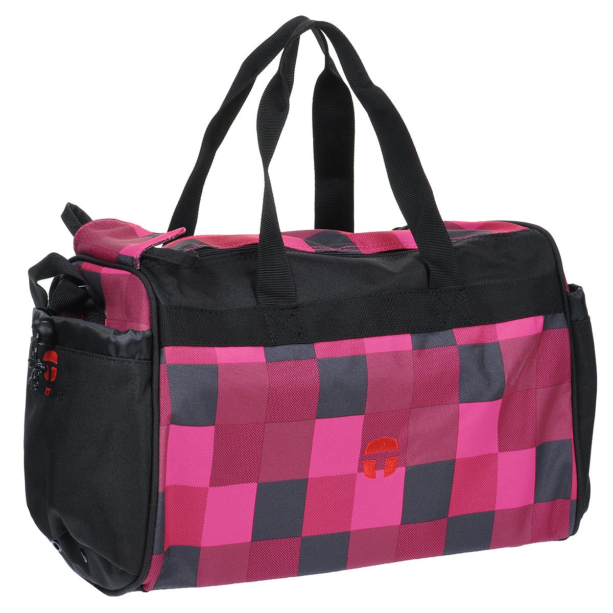 Сумка спортивная детская Take It Easy Огонь, цвет: черный, розовый28407481209Спортивная сумка Take It Easy Огонь выполнена из высококачественного материала черного и розового цветов, оформлена небольшой вышивкой. Сумка состоит из одного вместительного отделения, закрывающегося на две застежки-молнии и липучку. Бегунки на застежках соединены текстильным шнурком. На внешней стороне сумки расположен объемный втачной карман для обуви, закрывающийся на застежку-молнию. По бокам находятся два накладных кармана, затягивающиеся сверху текстильными шнурками с фиксаторами. Спортивная сумка оснащена двумя текстильными ручками для переноски в руке и плечевым ремнем, регулируемым по длине. На дне сумки расположены четыре широкие пластиковые ножки, которые защитят ее от грязи и продлят срок службы.