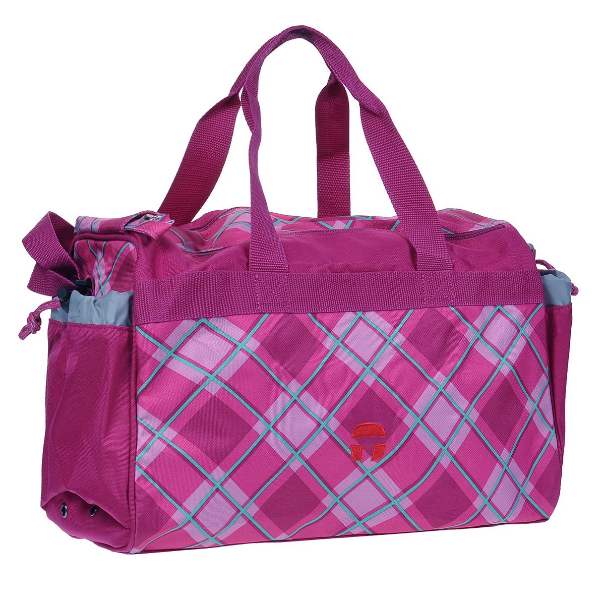 Сумка спортивная детская Take It Easy Фантазия, цвет: фуксия28407475049Спортивная сумка Take It Easy Фантазия выполнена из высококачественного материала и оформлена небольшой вышивкой. Сумка состоит из одного вместительного отделения, закрывающегося на две застежки-молнии и липучку. Бегунки на застежках соединены общим текстильным держателем. На внешней стороне сумки расположен объемный втачной карман для обуви, закрывающийся на застежку-молнию. По бокам находятся два внешних кармана, затягивающиеся сверху текстильным шнурком с фиксатором. Спортивная сумка оснащена двумя текстильными ручками для переноски в руке и плечевым ремнем, регулируемым по длине. На дне сумки расположены четыре широкие пластиковые ножки, которые защитят ее от грязи и продлят срок службы.