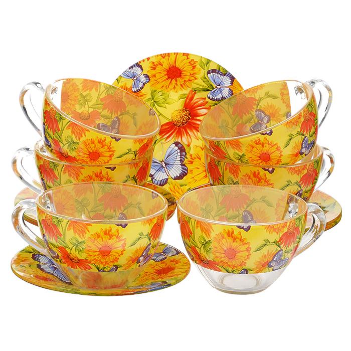 Сервиз чайный Bohmann, цвет: оранжевый, желтый, синий, 12 предметов. 01200BHG01200BHGЧайный сервиз Bohmann состоит из шести чашек и шести блюдец, изготовленных из высококачественного прозрачного стекла. Предметы набора оформлены красочным принтом. Изящный дизайн придется по вкусу и ценителям классики, и тем, кто предпочитает утонченность и изысканность. Он настроит на позитивный лад и подарит хорошее настроение с самого утра. Сервиз чайный - идеальный и необходимый подарок для вашего дома и для ваших друзей в праздники, юбилеи и торжества! Он также станет отличным корпоративным подарком и украшением любой кухни. Диаметр блюдца: 12,5 см. Объем чашки: 200 мл. Диаметр чашки по верхнему краю: 9 см. Высота чашки: 6 см.