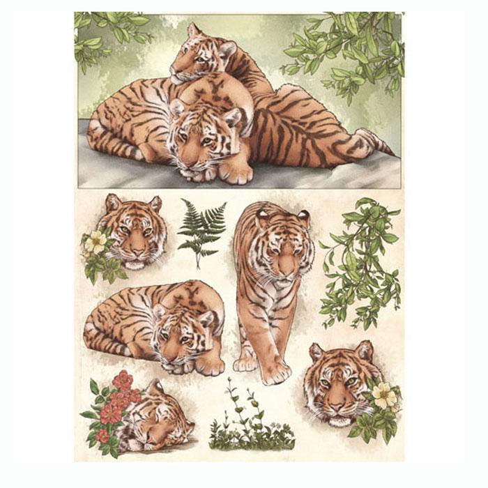 Рисовая бумага для декупажа Craft Premier Тигры, A3CP00726