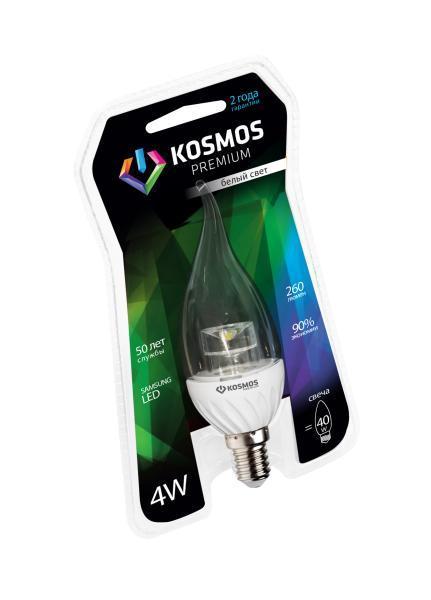 Светодиодная лампа Kosmos Premium, белый свет, цоколь E14, 4W, 280 ЛМ, свечаKLED4wCW230vE1445CLНейтральный белый оттенок свечения идеально подойдет для освещения кухни и гостиной.