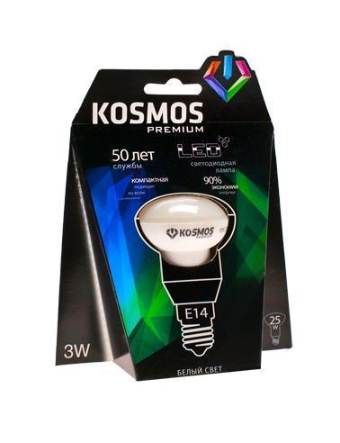 Светодиодная лампа Kosmos Premium, белый свет, цоколь E14, 3W. KLED3wR39230vE1445KLED3wR39230vE1445Нейтральный белый оттенок свечения идеально подойдет для освещения кухни и гостиной.
