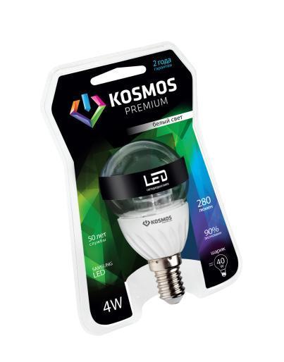 Светодиодная лампа Kosmos Premium, белый свет, цоколь E14, 4W, 280 ЛМKLED4wGL45230vE1445CНейтральный белый оттенок свечения идеально подойдет для освещения кухни и гостиной.