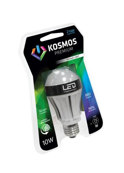 Светодиодная диммируемая лампа Kosmos Premium А60, белый свет, цоколь E27, 10WKLED10wA60230vE2745dНейтральный белый оттенок свечения идеально подойдет для освещения кухни и гостиной.