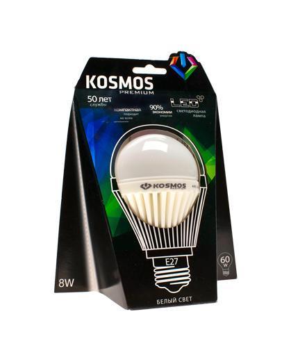 Светодиодная диммируемая лампа Kosmos Premium А55, белый свет, цоколь E27, 8 ВтKLED8wA55230vE2745_dНейтральный белый оттенок свечения идеально подойдет для освещения кухни и гостиной.