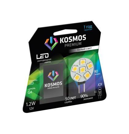 Светодиодная лампа Kosmos Premium, белый свет, цоколь G4, 1,2WKLED1.2wJCRG412v4500Нейтральный белый оттенок свечения идеально подойдет для освещения кухни и гостиной.