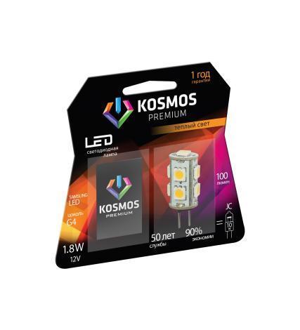 Светодиодная лампа Kosmos Premium, теплый свет, цоколь G4, 1,8WKLED1.8wJCG412v2700Использование светодиодов от мирового лидера SAMSUNG и предоставление 2 лет гарантии – залог надежной и стабильной работы лампы. Теплый оттенок света лампы по цветовой температуре соответствует обычной лампе накаливания и позволит создать уют в спальнях и местах отдыха.