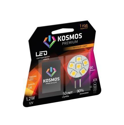 Светодиодная лампа Kosmos Premium, теплый свет, цоколь G4, 1,2WKLED1.2wJCRG412v2700Использование светодиодов от мирового лидера SAMSUNG и предоставление 2 лет гарантии – залог надежной и стабильной работы лампы. Теплый оттенок света лампы по цветовой температуре соответствует обычной лампе накаливания и позволит создать уют в спальнях и местах отдыха.