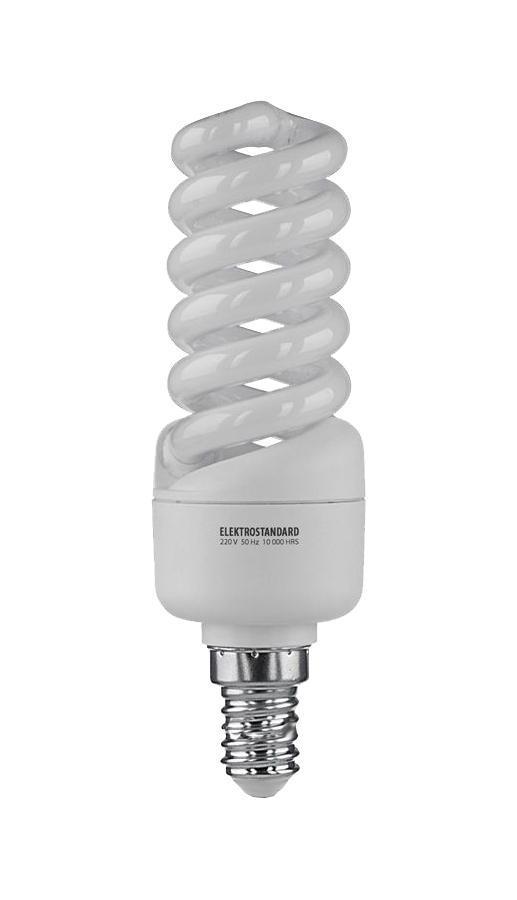 Elektrostandard лампа энергосберегающая Микро винт, теплый свет, цоколь Е14, 15Wa023963Энергосберегающая лампа Электростандарт Микро винт способствует расслаблению, ее лучше использовать в спальнях, местах отдыха. Сфера применения энергосберегающей лампы Электростандарт та же, что и у лампы накаливания, но данная лампа имеет ряд преимуществ: температура колбы ниже, чем у ламп накаливания, что позволяет использовать энергосберегающие лампы в тканевых абажурах без риска их выцветания и возникновения пожара; полностью заменяет галогенные и обычные лампы накаливания. Лампа обладает высоким индексом цветопередачи Ra >80. Это означает, что все цвета объектов, освещаемые лампой, выглядят естественно и натурально. Лампа оборудована системой плавного запуска, позволяющего лампе загораться постепенно в течение 1-2 секунд. Электронное пускорегулирующее устройство не вызывает стробоскопического эффекта при работе лампы, что оказывает благоприятное воздействие на глаза человека и его нервную систему Напряжение: 220 вольт