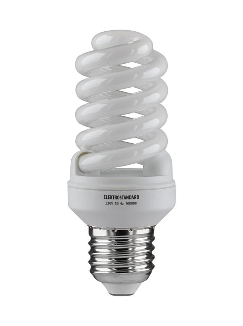 Elektrostandard лампа энергосберегающая Компакт винт, теплый свет, цоколь Е27, 15Wa023987Энергосберегающая лампа Электростандарт Компакт винт способствует расслаблению, ее лучше использовать в спальнях, местах отдыха. Сфера применения энергосберегающей лампы Электростандарт та же, что и у лампы накаливания, но данная лампа имеет ряд преимуществ: температура колбы ниже, чем у ламп накаливания, что позволяет использовать энергосберегающие лампы в тканевых абажурах без риска их выцветания и возникновения пожара; полностью заменяет галогенные и обычные лампы накаливания. Лампа обладает высоким индексом цветопередачи Ra >80. Это означает, что все цвета объектов, освещаемые лампой, выглядят естественно и натурально. Лампа оборудована системой плавного запуска, позволяющего лампе загораться постепенно в течение 1-2 секунд. Электронное пускорегулирующее устройство не вызывает стробоскопического эффекта при работе лампы, что оказывает благоприятное воздействие на глаза человека и его нервную систему. Напряжение: 220 вольт