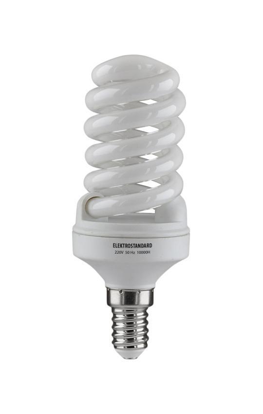 Elektrostandard лампа энергосберегающая Компакт винт, теплый свет, цоколь Е14, 15Wa023986Энергосберегающая лампа Электростандарт Компакт винт способствует расслаблению, ее лучше использовать в спальнях, местах отдыха. Сфера применения энергосберегающей лампы Электростандарт та же, что и у лампы накаливания, но данная лампа имеет ряд преимуществ: температура колбы ниже, чем у ламп накаливания, что позволяет использовать энергосберегающие лампы в тканевых абажурах без риска их выцветания и возникновения пожара; полностью заменяет галогенные и обычные лампы накаливания. Лампа обладает высоким индексом цветопередачи Ra >80. Это означает, что все цвета объектов, освещаемые лампой, выглядят естественно и натурально. Лампа оборудована системой плавного запуска, позволяющего лампе загораться постепенно в течение 1-2 секунд. Электронное пускорегулирующее устройство не вызывает стробоскопического эффекта при работе лампы, что оказывает благоприятное воздействие на глаза человека и его нервную систему. Напряжение: 220 вольт