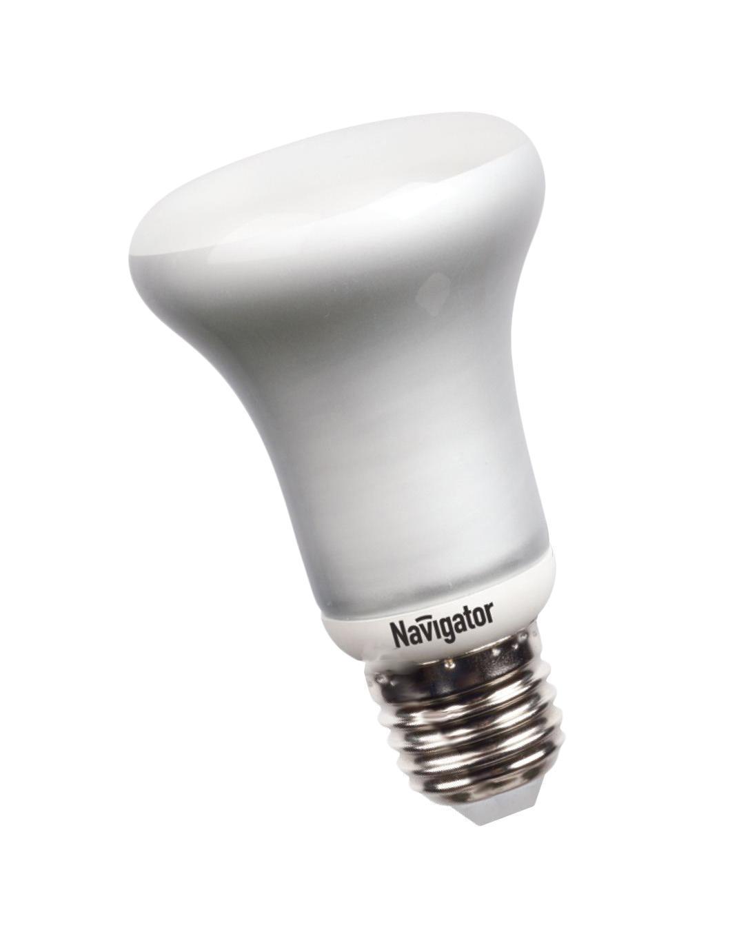 Энергосберегающая лампа Navigator R63, теплый белый свет, цоколь E27, 11W94070NAСветовая отдача энергосберегающей лампы Navigator в среднем в пять раз больше, чем у обычной лампы накаливания. Для примера: световой поток лампы Navigator 20 Вт приблизительно равняется световому потоку лампы накаливания 100 Вт, что позволяет снизить потребление электроэнергии приблизительно на 80% без потери привычного для вас уровня освещенности комнаты.