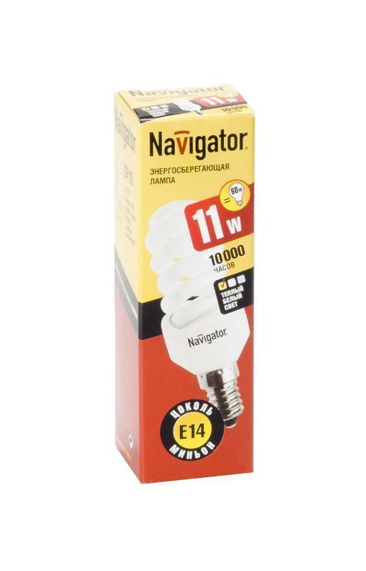 Энергосберегающая лампа Navigator, теплый белый свет, цоколь E14, 11W94087NANavigator NCL-SF10 – компактная люминесцентная энергосберегающая лампа. Колба лампы представляет собой полную спираль, изготовленную из люминесцентной трубки диаметром 7 мм (T2). При изготовлении трубки используется высококачественный трехполосный люминофор, что обеспечивает превосходное качество света и высокую светоотдачу ламп.