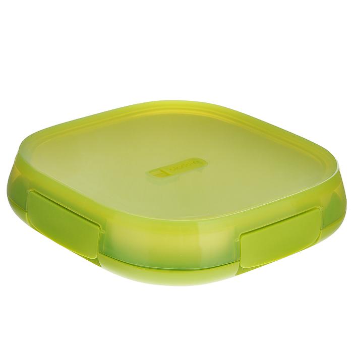 Контейнер для ланча Aladdin Lunch Plate, цвет: салатовый, 0,85 л10-01546-002Герметичный кейс для ланча коллекции Crave изготовлен из пластика. Двустенная изоляция, в комплекте с тарелкой, с вентиляционным отверстием для подогрева в микроволновой печи. Не содержит бисфенол А. Размер контейнера: 22,5 см х 22,5 см х 5 см. Размер тарелки: 20 см х 20 см.
