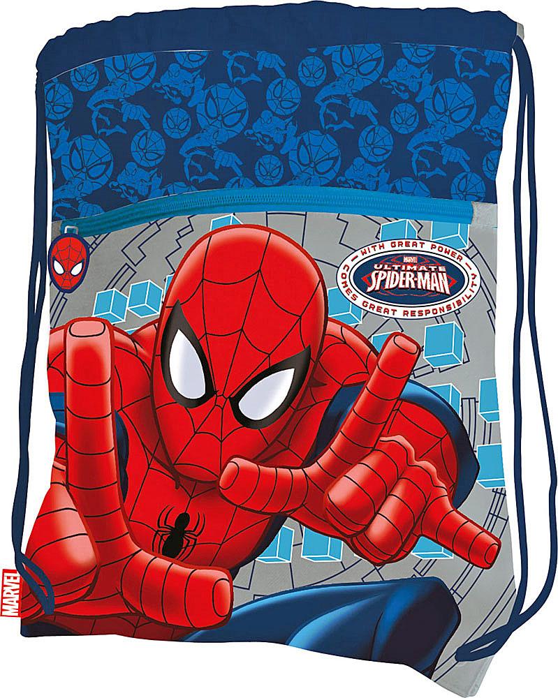 Сумка для сменной обуви Spider-Man, цвет: синий, светло-серыйSMBB-UT2-880Сумку Spider-Man удобно использовать как для хранения, так и для переноски сменной обуви. Она выполнена из прочного полиэстера и затягивается сверху текстильными шнурками. На лицевой стороне расположен большой внешний карман на застежке-молнии. Бегунок дополнен удобным текстильным держателем. Два небольших отверстия в нижней части обеспечивают вентиляцию. Плотный материал обеспечит надежность и долговечность сумки. Шнурки фиксируются в нижней части сумки, благодаря чему ее можно носить за спиной как рюкзак. Сумка оформлена ярким принтом с изображением Человека-паука - главного героя мультфильма Spider-Man.