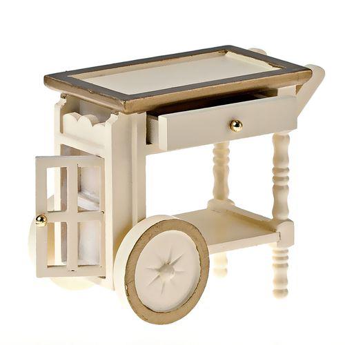 Миниатюра кукольная Art of Mini Тележка для сервировки, цвет: кремовыйAM0102016