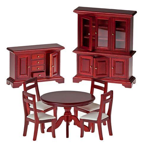 Миниатюра кукольная Art of Mini Набор мебели для столовой, цвет: махагон, 7 предметовAM0102038