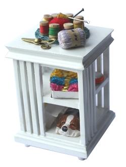 Миниатюра кукольная Art of Mini Столик со швейными принадлежностями, цвет: белыйAM0102042