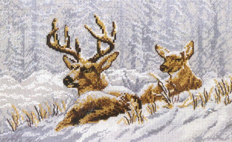Набор для вышивания крестом Овен Олени на привале, 28 х 18 см набор для вышивания крестом овен щенки бигль 28 х 37 см