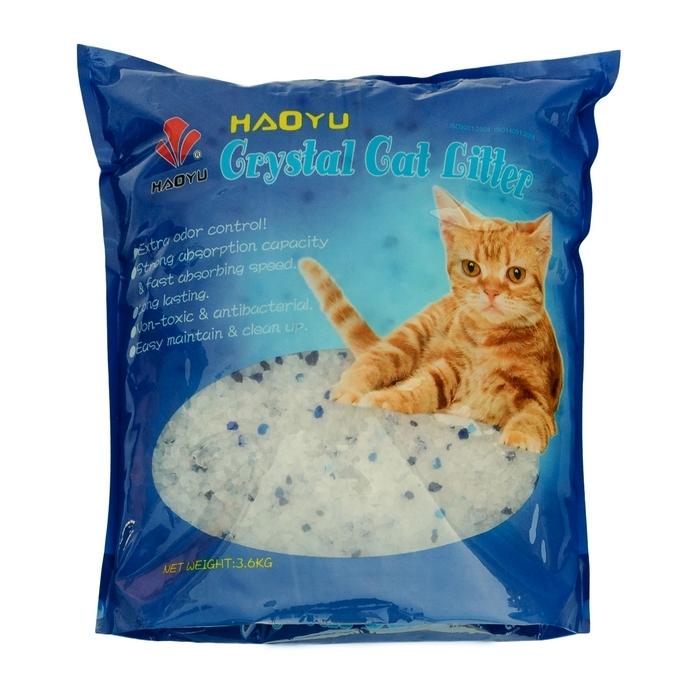 """Наполнитель для кошачьего туалета Haoyu """"Crystal Cat Litter"""", силикагелевый, 3,6 кг"""