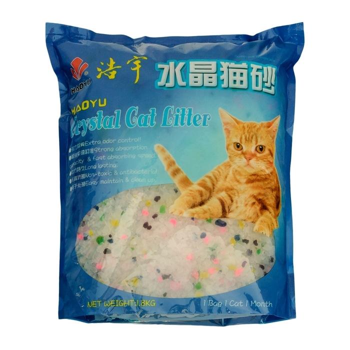 """Наполнитель для кошачьего туалета Haoyu """"Crystal Cat Litter"""", силикагелевый, цветные гранулы, 1,8 кг 900015"""