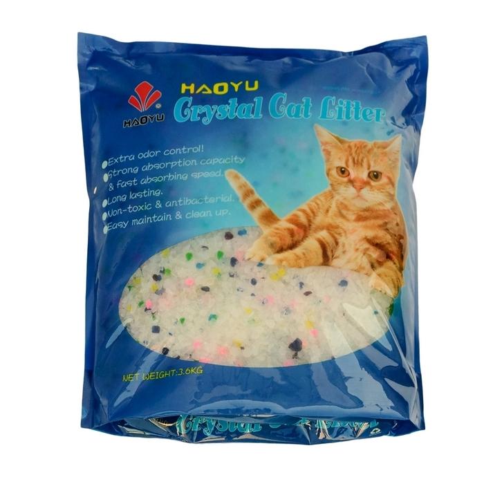 """Наполнитель для кошачьего туалета Haoyu """"Crystal Cat Litter"""", силикагелевый, цветные гранулы, 3,6 кг"""