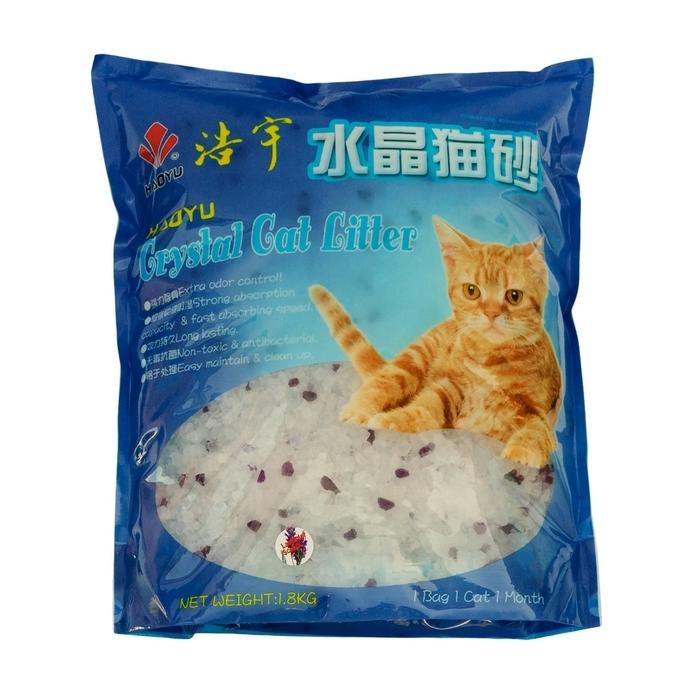 """Наполнитель для кошачьего туалета Haoyu """"Crystal Cat Litter"""", силикагелевый, с ароматом лаванды, 1,8 кг"""