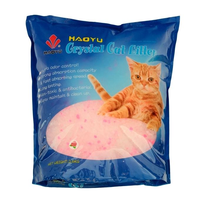 """Наполнитель для кошачьего туалета Haoyu """"Crystal Cat Litter"""", силикагелевый, с цветочным ароматом, 3,6 кг 900121"""