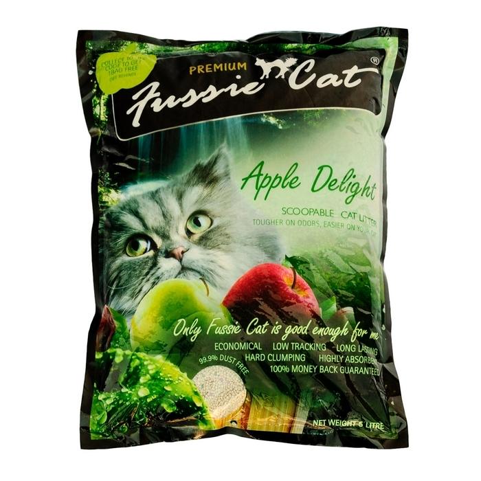 """Наполнитель для кошачьего туалета """"Fussie Cat"""", комкующийся, с ароматом яблока, 5 л 300166"""