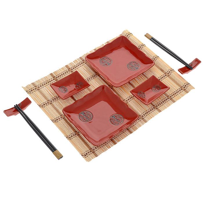 Набор для суши Медальон на красном, 10 предметов510-095Набор для суши Медальон на красном для суши идеально подойдет для грамотной и красивой сервировки стола на две персоны. В набор входит: две соусницы под соевый соус, две тарелки для суши, комплекты деревянных палочек для еды с подставками для них. Для того чтобы более точно передать атмосферу восточной трапезы в комплекте есть специальные настольные коврики из бамбука. Данный набор будет отличным подарком любителям восточной кухни. УВАЖАЕМЫЕ КЛИЕНТЫ! Обращаем ваше внимание, на тот факт, что палочки к набору могут быть как черные, так и светлые. Это производственная комплектация и производитель допускает изменение в цвете. Характеристики: Материал: фарфор, дерево, бамбук. Длина палочки: 20 см. Размер соусницы: 9 см х 6,5 см х 2 см. Размер тарелки для суши: 15 см х 15 см х 2,5 см. Размер коврика: 40 см х 30 см х 0,5 см. Производитель: Китай.