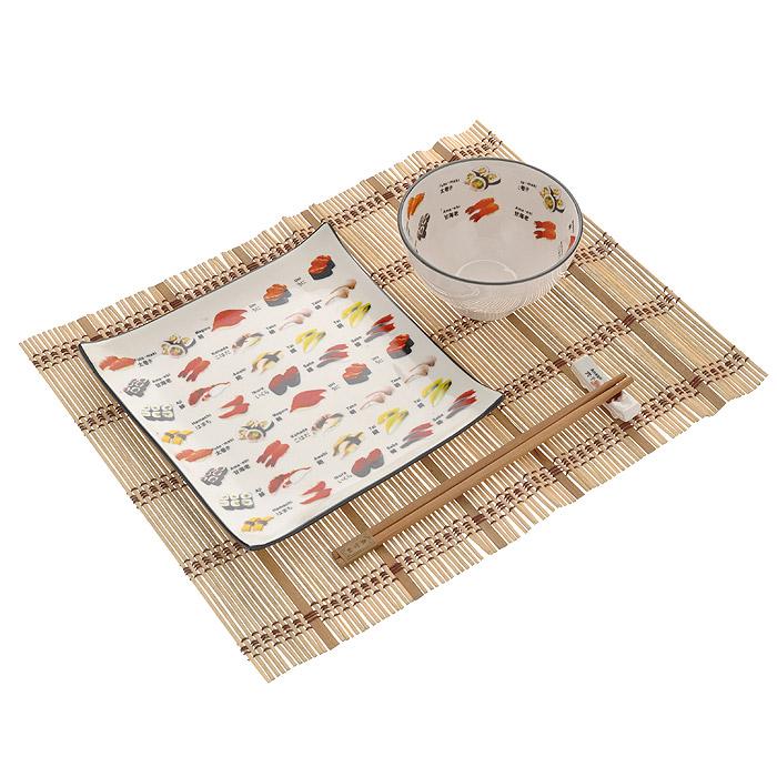 Набор для суши Суши, 5 предметов510-100Набор для суши Суши, включающий в себя соусницу под соевый соус, тарелку под суши, деревянные палочки для еды с подставкой для них и специальный настольный коврик из бамбука. Данный набор идеально подойдет для грамотной и красивой сервировки стола на две персоны и будет отличным подарком любителям восточной кухни.