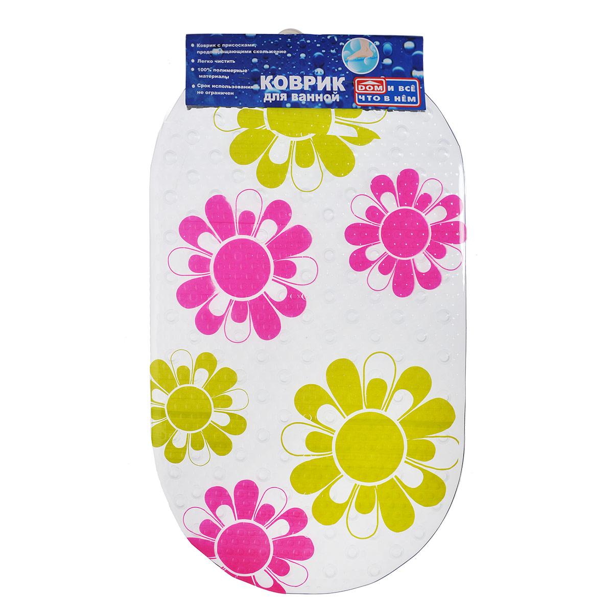Коврик для ванны Цветы, цвет: желтый, розовый, 67 х 37 см850-402-00Коврик для ванны и душевой кабины Цветы, выполненный из винила и оформленный рисунком в виде цветов. Противоскользящий коврик для ванны - это хорошая защита детей и взрослых от неожиданных падений на гладкой мокрой поверхности. Коврик очень плотно крепится ко дну множеством присосок, расположенных по всей изнаночной стороне. Отверстия, предназначенные для пропуска воды, способствуют лучшему сцеплению с поверхностью, таким образом, полностью, исключая скольжение. Принимая душ или ванную, постелите противоскользящий коврик. Это особенно актуально для семьи с маленькими детьми и пожилыми людьми. Характеристики: Материал: винил. Размер: 67 см х 37 см.