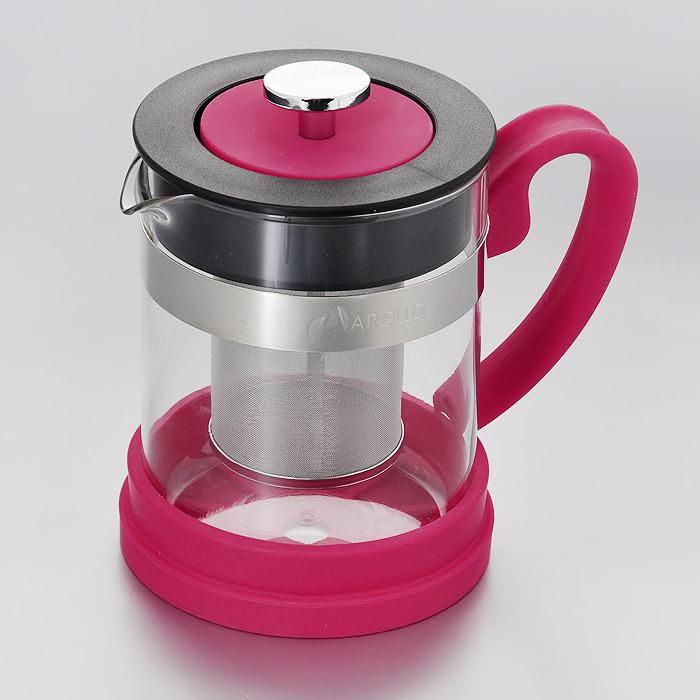 Чайник заварочный Apollo Orfeo, цвет: розовый, 600 млORF-06Заварочный чайник Apollo Orfeo выполнен из жаропрочного стекла, устойчивого к окрашиванию, царапинам и термошоку. Чайник оснащен сетчатым фильтром из нержавеющей стали. Он задерживает чаинки и предотвращает их попадание в чашку, а прозрачные стенки дадут возможность наблюдать за насыщением напитка. Ручка, крышка и основание чайника изготовлены из силикона. Заварочный чайник Apollo Orfeo займет достойное место на вашей кухне и позволит вам заварить свежий, ароматный чай. Чайник нельзя мыть в посудомоечной машине. Высота чайника (с учетом крышки): 14,5 см. Диаметр чайника по верхнему краю: 9,5 см. Высота стенки чайника: 13 см. Размер фильтра: 5,5 см х 5,5 см х 8 см.