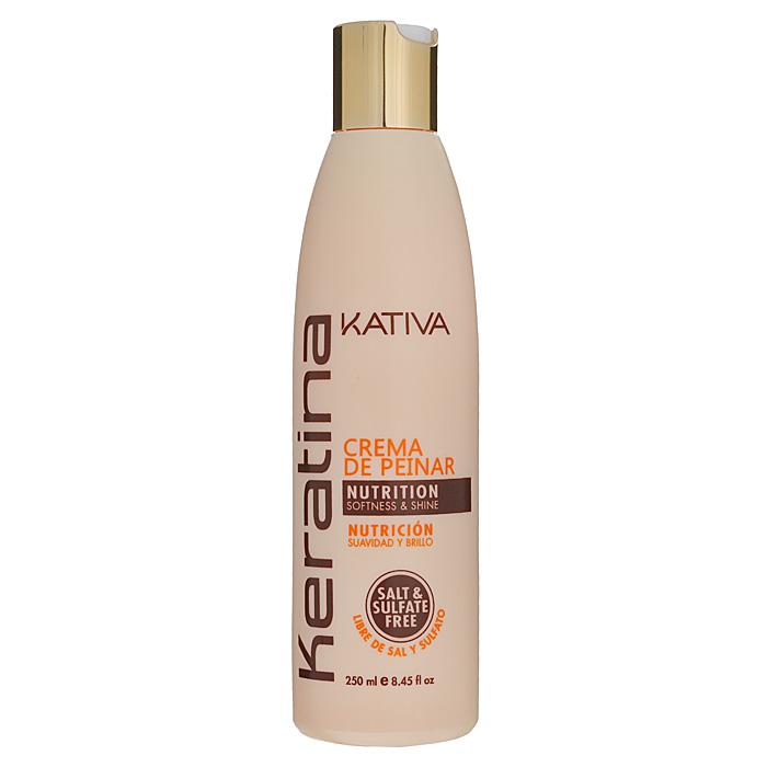 Kativa Крем для укладки Keratina, укрепляющий, для всех типов волос, 250 мл65866011Средство превосходно восстанавливает природный блеск, разглаживает волосы и облегчает их расчесывание. Крем работает даже при повышенной влажности воздуха, а благодаря тому, что в нем содержатся компоненты, запечатывающие кутикулу волоса - они надежно защищены от внешних воздействий. Благодаря кератину, интенсивно увлажняет, возвращает волосам шелковистость, эластичность и здоровый блеск. Укрепляет волосы, способствует длительному сохранению цвета.