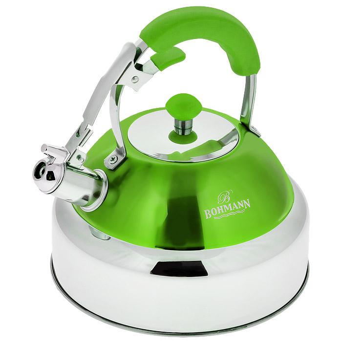 Чайник Bohmann со свистком, цвет: зеленый, 4 л. 9987BH9987BH зеленыйЧайник Bohmann изготовлен из высококачественной нержавеющей стали с зеркальной полировкой и оформлен цветной эмалью. Нержавеющая сталь - материал, из которого в течение нескольких десятилетий во всем мире производятся столовые приборы, кухонные инструменты и различные аксессуары. Этот материал обладает высокой стойкостью к коррозии и кислотам. Прочность, долговечность и надежность этого материала, а также первоклассная обработка обеспечивают практически неограниченный запас прочности и неизменно привлекательный внешний вид. Чайник оснащен удобной ручкой с цветной силиконовой вставкой, что предотвращает появление ожогов и обеспечивает безопасность использования. Благодаря широкому верхнему отверстию, в чайник удобно заливать воду и прочищать его изнутри. Носик чайника имеет откидной свисток для определения кипения, который открывается нажатием рычага на ручке. Можно использовать на газовых, электрических, галогенных, стеклокерамических, индукционных плитах. Можно мыть...