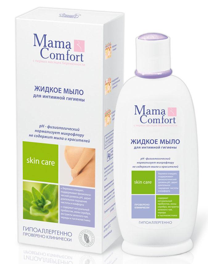 Мыло жидкое Mama Comfort для интимной гигиены, 250 мл03.09.01.0190-1Жидкое мыло Mama Comfort для интимной гигиены является специальным средством для ухода за деликатными участками тела в период беременности и после родов. В состав мыла входят натуральные активные компоненты, которые обеспечивают мягкое очищение, снимают сухость и раздражение слизистой, придают чувство комфорта, чистоты и свежести. Мыло поддерживает физиологический уровень рН интимной зоны, устраняет ощущение дискомфорта. Активные компоненты: натуральный пребиотик, ионы серебра, экстракты зеленого чая, череды и тысячелистника. Противопоказания: индивидуальная непереносимость компонентов.