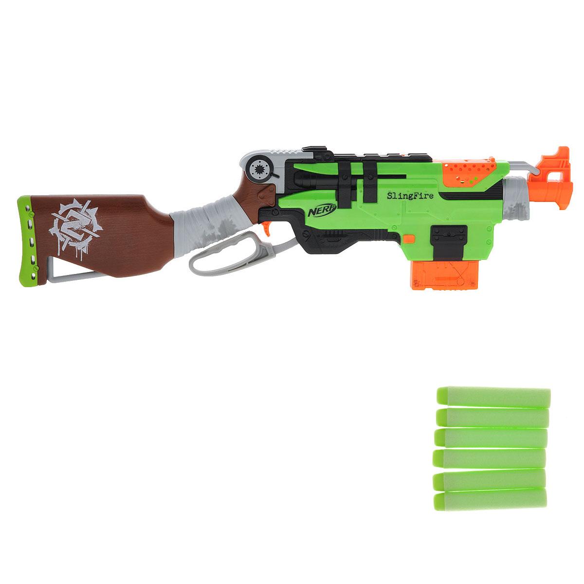 Бластер Nerf Zombie Strike: Slingfire, с патронами, цвет: салатовый, коричневый, оранжевыйA6563EU4Бластер Nerf Zombie Strike: Slingfire позволит вашему ребенку почувствовать себя во всеоружии! Он выполнен из яркого прочного пластика салатового, коричневого и оранжевого цветов. Стреляет путем нажатия на курок на расстояние свыше 22 метров. Комплект включает в себя шесть патронов, выполненных из гибкого вспененного полимера. Игра с таким бластером поможет ребенку в развитии меткости, ловкости, координации движений и сноровки.