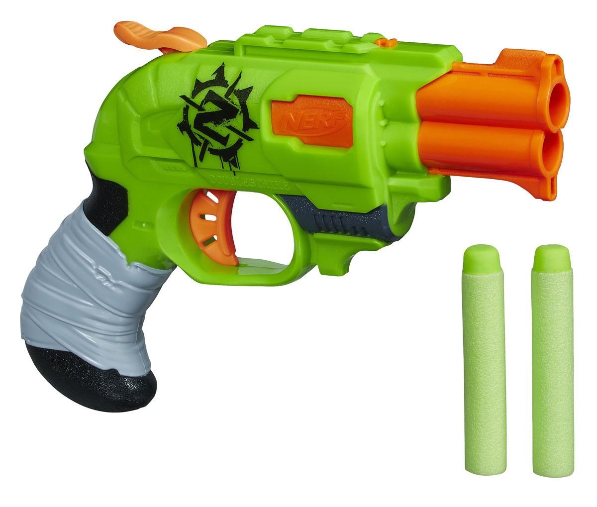 Nerf Бластер Zombie Strike, с патронами, цвет: салатовый, оранжевыйA6562EU4Бластер Nerf Zombie Strike позволит вашему ребенку почувствовать себя во всеоружии! Он выполнен из яркого прочного пластика салатового и оранжевого цветов. Стреляет двумя патронами одновременно путем нажатия на курок на расстояние свыше 20 метров. Комплект включает в себя два патрона, выполненных из гибкого вспененного полимера. Игра с таким бластером поможет ребенку в развитии меткости, ловкости, координации движений и сноровки.
