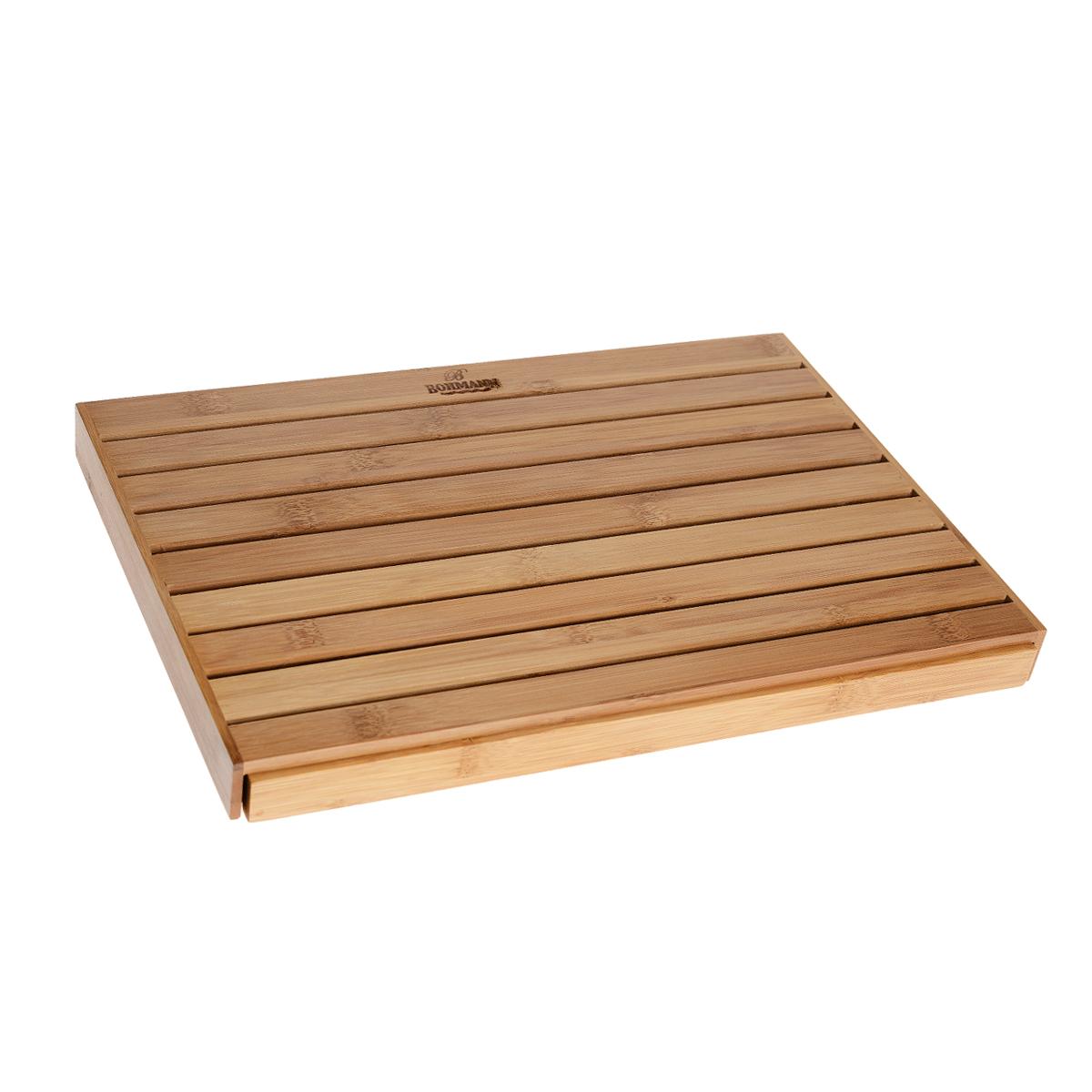Доска разделочная Bohmann для нарезки хлеба, 40 см х 24 см х 3,5 см02500BHДоска Bohmann для нарезки хлеба изготовлена из бамбуковой плиты и оснащена специальным поддоном для сбора крошек. Бамбук не впитывает влагу, легко моется, не деформируется, не тупит ножи. Благодаря твердости бамбука и красоте структуры его древесины из него очень часто делают разделочные доски, которые предназначены для нарезки сырой и готовой пищи. Они также могут служить как подставки под горячее.
