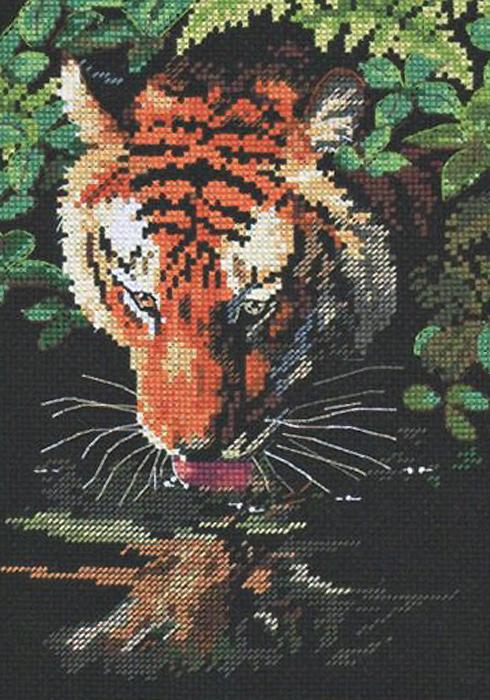 Набор для вышивания Dimensions Роскошный тигр, 13 см х 18 см140293