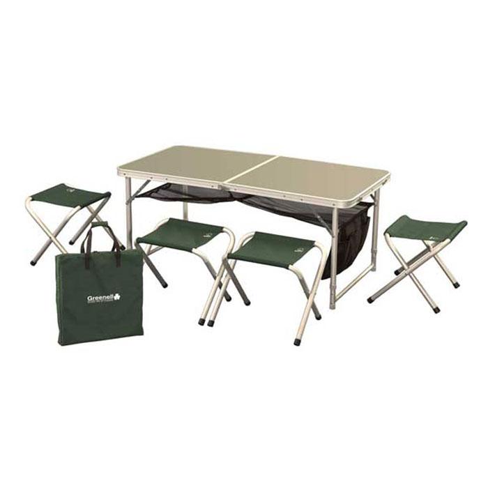Набор складной мебели Greenell FTFS-1, 5 предметов71241-366-00Набор складной мебели предназначен для хорошо организованного отдыха на природе. Набор компактен и удобно складывается. Табуретки убираются внутрь. Сетка, расположенная под столом, входит в комплект. Так же набор имеет чехол для переноски. Набор складной мебели может послужить отличным подарком любому дачнику, охотнику и рыбаку. Любой отдыхающий за городом человек позавидует вам, увидев набор складной мебели. Размер табуретки (ДхШхВ): 29,5 см х 41 см х 34 см. Размер сиденья табуретки: 29,5 см х 28 см.