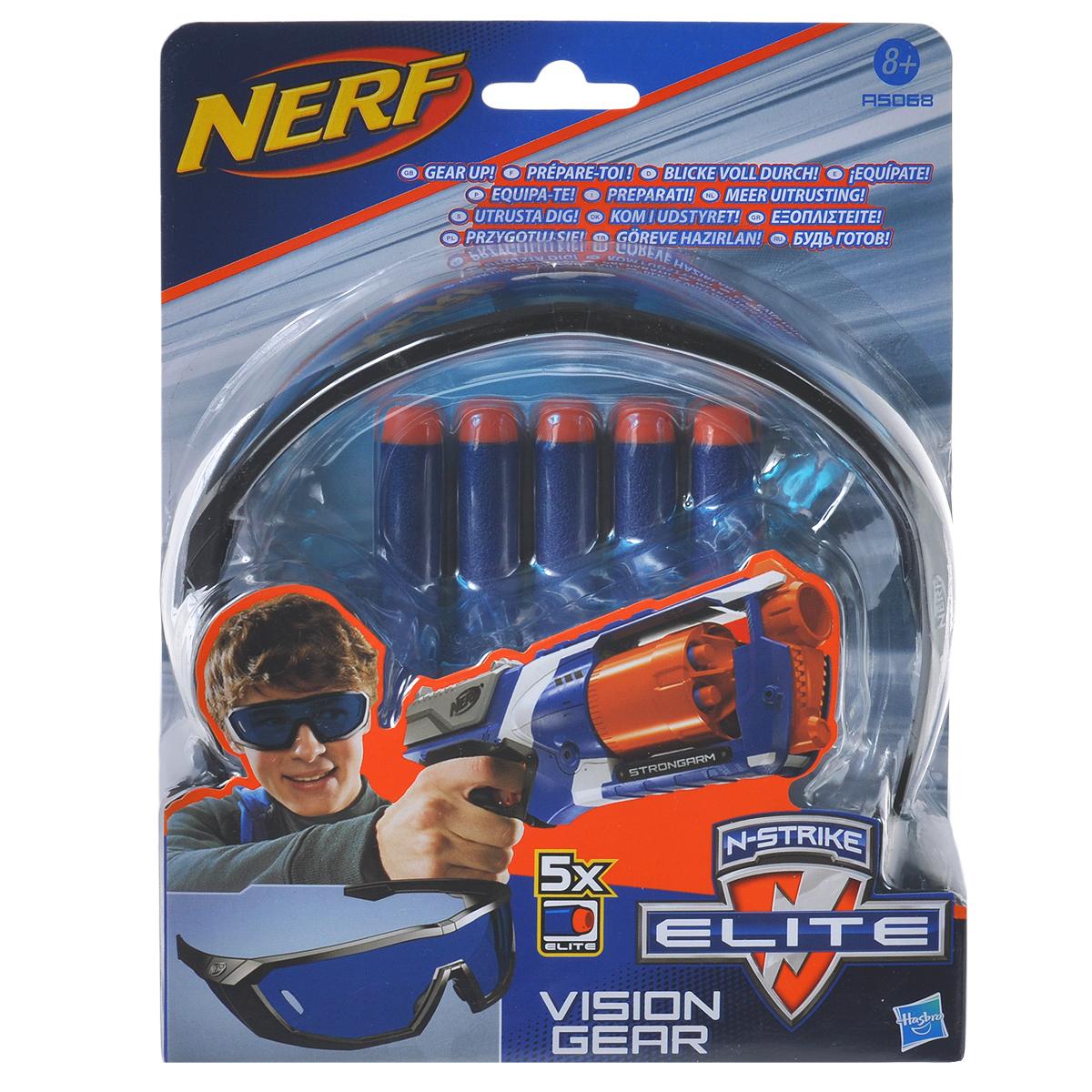 Игровой набор Nerf N-Strike Elite, 6 предметовA5068E24Игровой набор Nerf N-Strike Elite, состоящий из специальных защитных очков и пяти стрел для всех бластеров линейки N-Strike Elite, придется по душе вашему юному агенту. Очки выполнены из пластика в стильном дизайне, а стрелы - из гибкого вспененного полимера и мягкого пластика, абсолютно безопасного для ребенка. Ваш ребенок с удовольствием будет играть с таким набором, придумывая различные истории и представляя себя настоящим спецагентом.