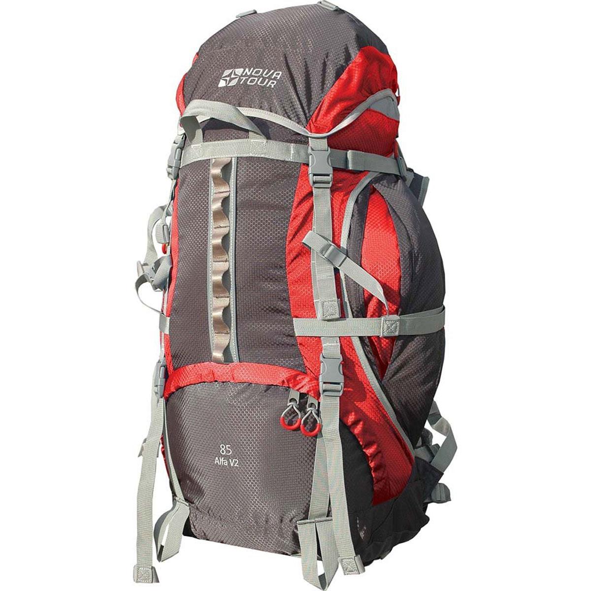 Рюкзак Nova Tour Альфа 85 V2, цвет: серый, красный. 95312-057-0095312-057-00Если вам нравится прыгать с камня на камень или двигаться по узкой горной тропе - этот рюкзак с усиленны- ми стропами специально для вас. Ваша спина будет благодарна за правильно распределяющую вес на плечи и пояс и уменьшающую нагрузку на позвоночник подвесную систему. Теперь доступ к нужным в дневном переходе вещам стал проще благодаря двум вместительным боковым карманам. Если их мало, то на дне рюкзака имеется удобное крепление для габаритных вещей (палатки). Для большего удобства крепления горного инвентаря разработана новая система навески. Если нужно что-то достать со дна рюкзака воспользуйтесь удобным нижним входом. В горах погода переменчива, может внезапно пойти дождь, но вещи всегда будут оставаться сухими, с идущим в комплекте гермочехлом в потайном кармане, на дне рюкзака. На концах боковых стяжек имеются липучки для закрепления излишков стропы. Особенности: Подвеска: ABS V2; Ткань: Poly Oxford 600D PU RipStop; Защитный чехол; ...