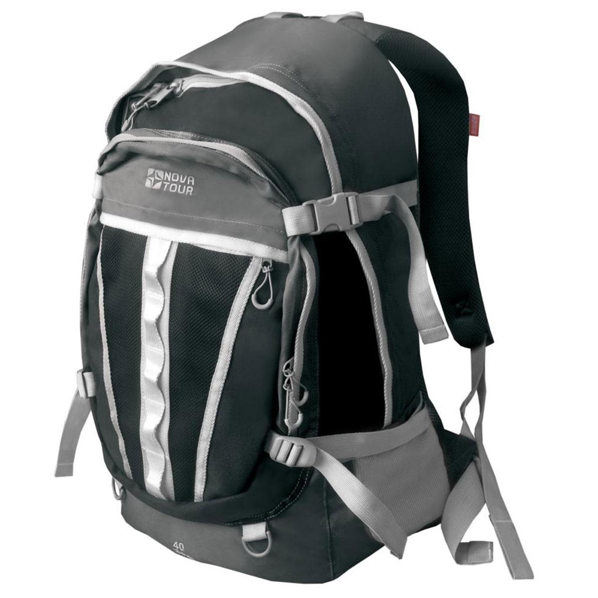Рюкзак городской Nova Tour Слалом 40 V2, цвет: серый, черный. 13523-956-0013523-956-00Если все, что нужно ежедневно носить с собой, не помещается в обычный рюкзак, то Слалом 40 V2 специально для вас. Два вместительных отделения можно уменьшить боковыми стяжками или наоборот, если что-то не поместилось внутри, навесить снаружи на узлы крепления. Для удобства переноски тяжелого груза на спинке предусмотрена удобная система подушек Air Mesh с полностью отстегивающимся поясным ремнем. Особенности: Прочная ткань с непромокаемой пропиткой. Сетчатый материал, отводящий влагу от вашего тела. Применяется на лямках, спинках и поясе рюкзака. Грудная стяжка для правильной фиксации лямок рюкзака и предотвращения их соскальзывания. Органайзер позволяет рационально разместить мелкие вещи внутри рюкзака. Объем: 40 л.