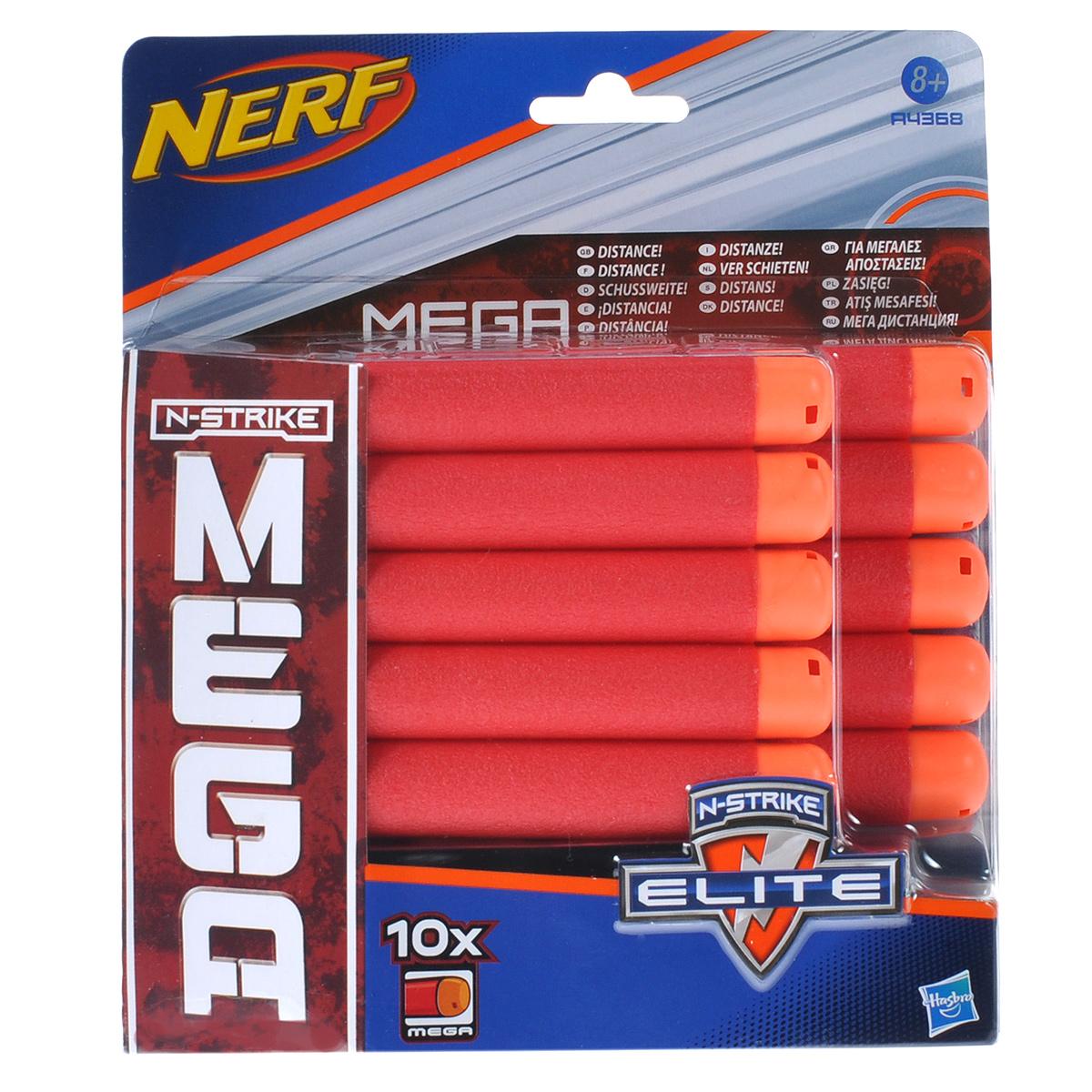 NERF, Набор 10 стрел для бластеровA4368E24Запасные стрелы Nerf подходят для всех бластеров линейки Mega. Они выполнены из гибкого вспененного полимера. В комплекте 10 стрел. Игры с бластером помогут ребенку в развитии меткости, ловкости, координации движений и сноровки.