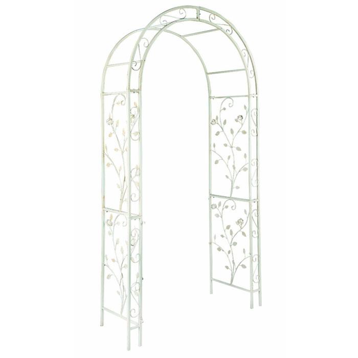 """Арка садовая English rose, цвет: белый, 120 х 37 х 230 cм00300Садовая арка """"English rose"""" выполненна из металла с покрытием белого цвета. Боковые панели оформлены декоративными элементами. Прочная конструкция и элегантный дизайн. Садовая арка может использоваться как вход в сад, в сочетании с цветами вьющимися по арке и садовой дорожкой начинающейся сразу за аркой. Первое впечатление при входе в такой сад станет незабываемым."""