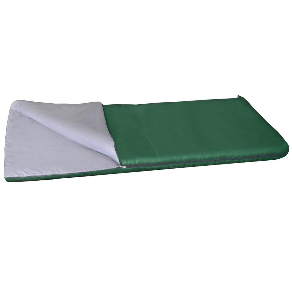 Спальный мешок Alaska Одеяло +20 °С, цвет: зеленый, левосторонняя молния. 95216-302-0095216-302-00Отличный спальный мешок-одеяло для использования летом. Одеяло отлично согревает летней ночью и обеспечивает достаточный комфорт и уют. В материалах спальника используется надежный и проверенный временем утеплитель Thermofibre. С помощью специальной молнии можно скреплять два спальника вместе. Также имеется две петли для сушки и проветривания. Этот супер недорогой спальник станет отличным выбором для тех кто имеет ограничение по финансам, или у кого просто нет нужды тратить лишние деньги за дополнительные и не нужные ему навороты. Благодаря простоте конструкции, спальные мешки легко превращаются в двух спальные одеяла, которые можно использовать не только на природе, но и на даче. Разъемная молния позволяет соединять два мешка вместе, увеличивая объем в двое. Приезд гостей не застанет вас врасплох, так как у вас в запасе всегда будет для них прекрасные одеяла. Утеплитель: Термофайбер. Ткань верха: Политафета 170Т. Внутренняя ткань: Политафета...