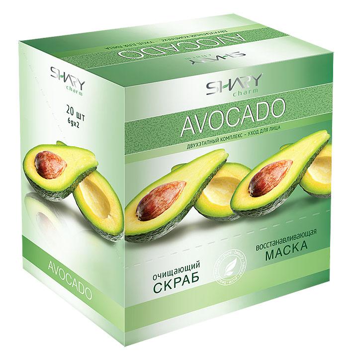 Shary Двухэтапный комплекс-уход для лица Avocado: очищающий скраб, восстанавливающая маска, 20 х 12 г