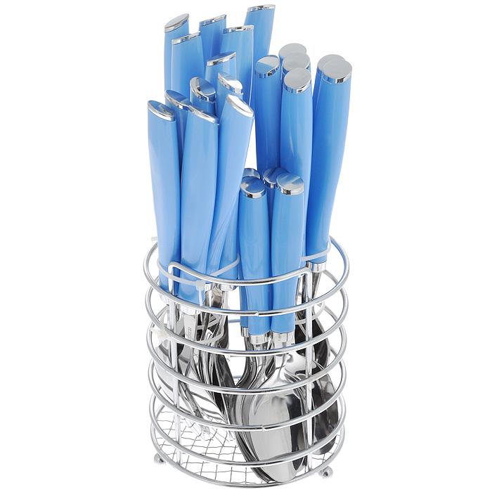 Набор столовых приборов Bekker Koch, цвет: голубой, 25 предметов. BK-3304BK-3304 голубойНабор столовых приборов Bekker выполнен из коррозионностойкой стали и высококачественного пластика. В набор входит 25 предметов: 6 обеденных ножей, 6 обеденных ложек, 6 обеденных вилок, 6 чайных ложек и металлическая подставка. Приборы имеют оригинальные удобные ручки с пластиковыми вставками. Прекрасное сочетание свежего дизайна и удобство использования предметов набора придется по душе каждому. Набор столовых приборов Bekker подойдет для сервировки стола, как дома, так и на даче и всегда будет важной частью трапезы, а также станет замечательным подарком. Предметы набора можно мыть в посудомоечной машине.